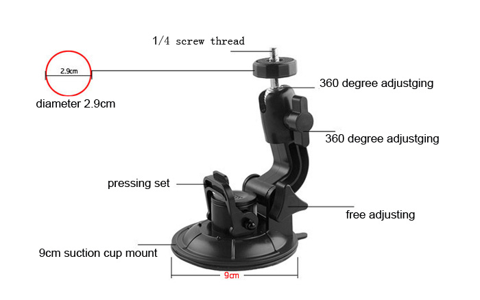 strong camera suction cup mount for camera recorder and board