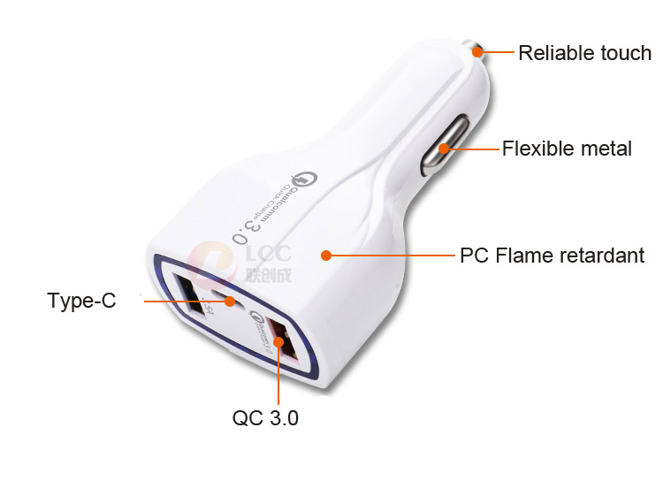 Type C car charger quick charge 3.0 car charger 3.5a qc3.0