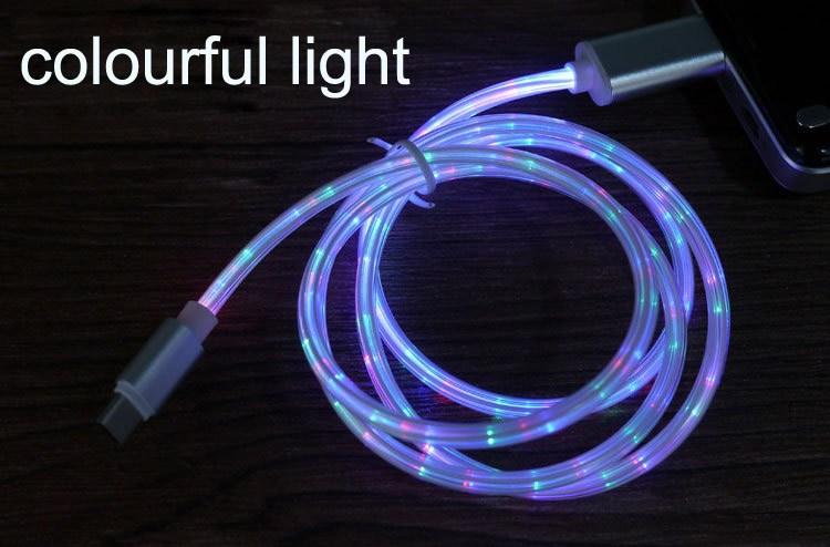 flowing light usb cable quick charge data cable