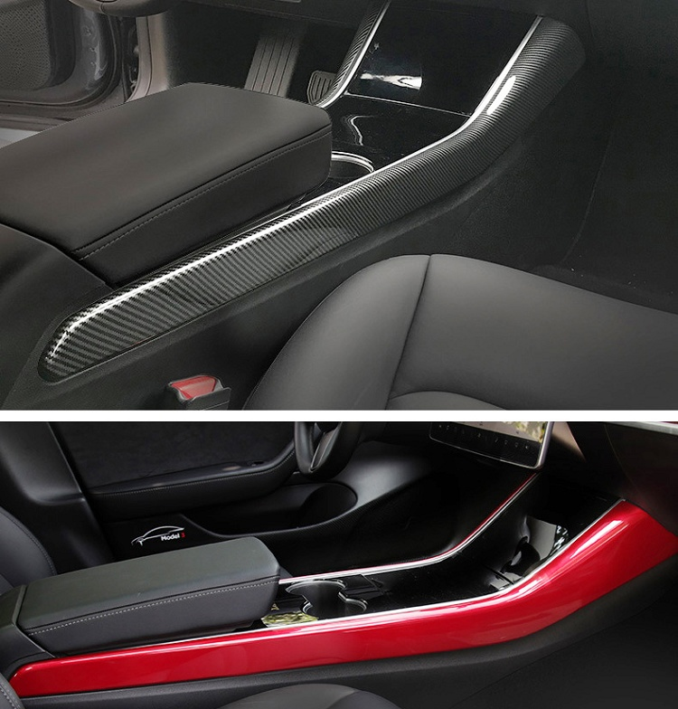 Car-console-broadside-decoration-stripe-cover-for-tesla-model-3